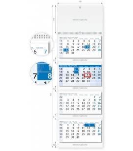 Nástěnný kalendář Čtyřměsíční modrý 2019