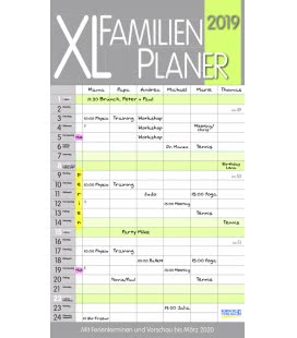 Nástěnný kalendář XL Rodinný plánovač / XL Familienplaner Pastell 2019