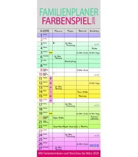 Nástěnný kalendář Rodinný plánovač barevný - 4 sloupce / Familienplaner Farbenspiel 2019