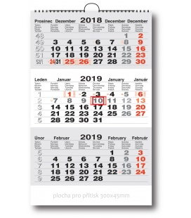Nástěnný kalendář Tříměsíční pracovní - šedý 2019