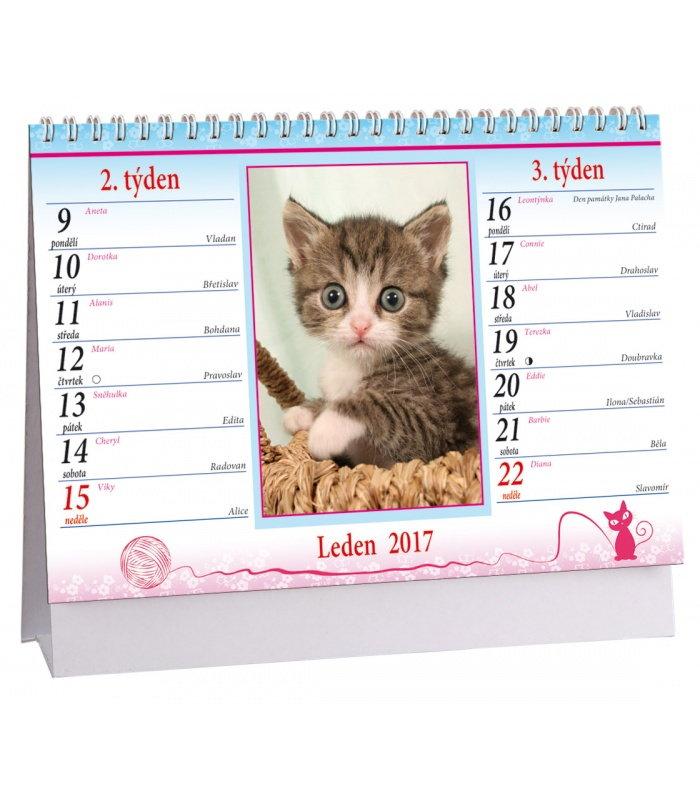 kalendar jmen cr Stolní kalendář Kočky + kočičí jména 2017 kalendar jmen cr