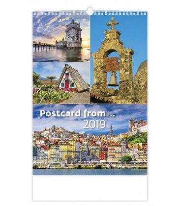 Nástěnný kalendář Poscard from... 2019