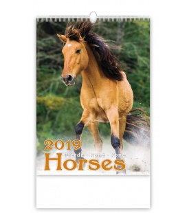 Nástěnný kalendář Horses/Pferde/Koně/Kone 2019