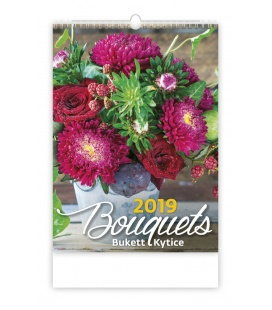 Nástěnný kalendář Bouquets/Bukett/Kytice 2019