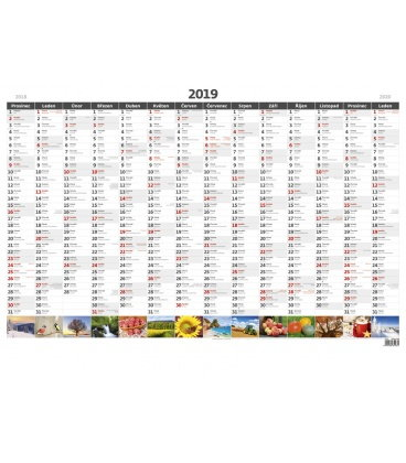 Wall calendar Yearly planing map A1 with pictures 2019