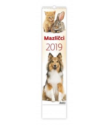 Nástěnný kalendář Mazlíčci - vázanka 2019