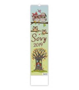 Nástěnný kalendář Sovy - vázanka 2019
