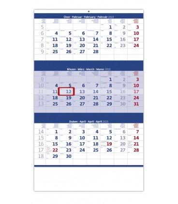 Nástěnný kalendář Tříměsíční modrý 2019