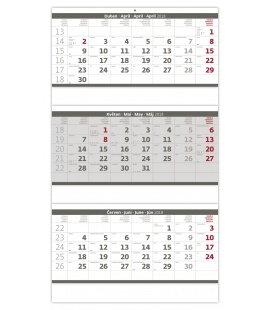 Nástěnný kalendář Tříměsíční skládaný šedý 2019