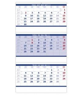 Nástěnný kalendář Tříměsíční skládaný modrý 2019
