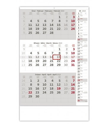 Wall calendar Grey 3 monthly with notes / Tříměsíční šedý s poznámkami 2019