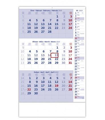 Wall calendar Blue 3 monthly with notes / Tříměsíční modrý s poznámkami 2019