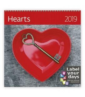 Nástěnný kalendář Hearts 2019