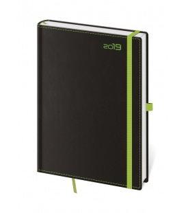 Daily diary A5 Black Green s poutkem na propisku 2019