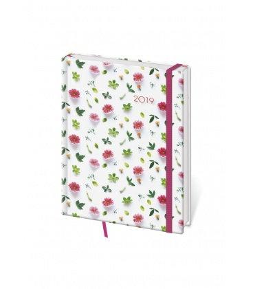 Daily diary B6 Vario - Flower s gumičkou 2019