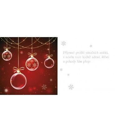 PF - karta s textem 20x10 - 4 červené vánoční ozdoby 2019, POUZE ZAKÁZKOVÁ VÝROBA OD 50ks