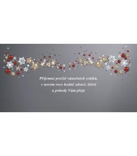PF - karta s textem 20x10 - hvězdičky a ozdoby 2019, POUZE ZAKÁZKOVÁ VÝROBA OD 50ks