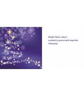 PF - karta s textem 20x10 - stromeček fialový podklad 2019, POUZE ZAKÁZKOVÁ VÝROBA OD 50ks