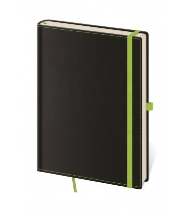 Notepad - Zápisník Black Green - unlined L 2019