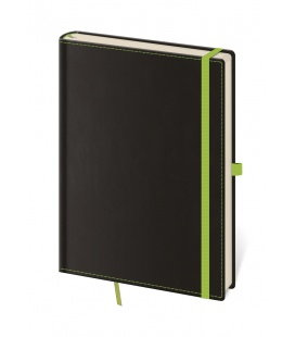Notepad - Zápisník Black Green - lined L 2019