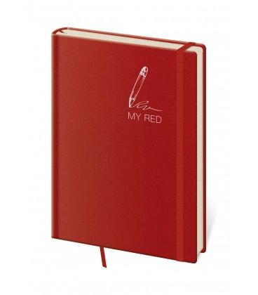 Notepad - Zápisník My Red - lined L 2019