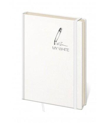 Notepad - Zápisník My White - lined M 2019