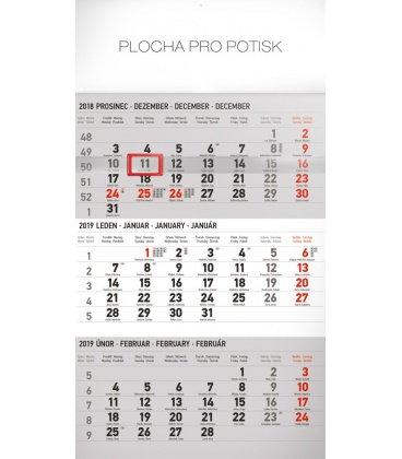 Wall calendar 3months standard grey with Czech names 2019
