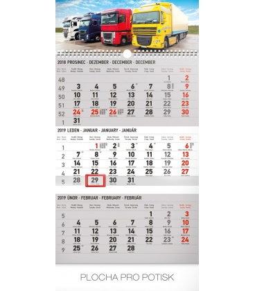 Wall calendar 3months Truck grey with Czech names 2019