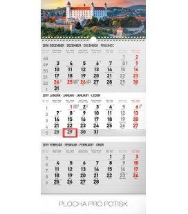 Nástěnný kalendář 3 mesačný Bratislava šedý – so slovenskými menami SK 2019
