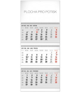 Wall calendar 3months standard foldable with Slovak names 2019