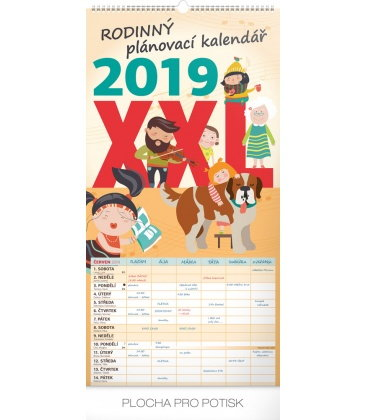 Nástěnný kalendář Rodinný plánovací XXL 2019