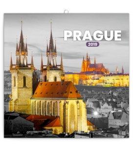 Wall calendar Prague black and white 2019
