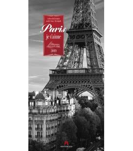 Nástěnný kalendář Paříž / Paris, je t'aime 2019