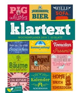 Nástěnný kalendář Texty - týdenní plánovač / Klartext Sprüche – Wochenplaner 2019