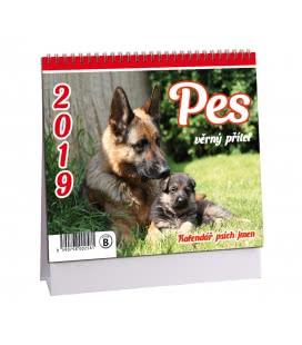 Stolní kalendář Pes - věrný přítel + psí jména 2019