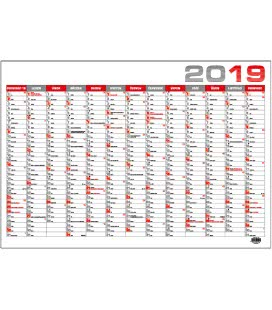 Nástěnný kalendář roční B1 - červený 2019