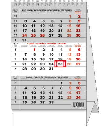 Stolní kalendář Mini Tříměsíční 2019
