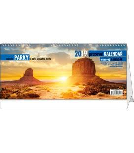 Stolní kalendář Pracovní kalendář - Národní parky 2019