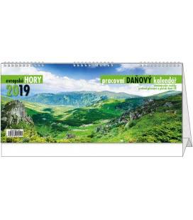Stolní kalendář Pracovní daňový kalendář - Evropské hory 2019