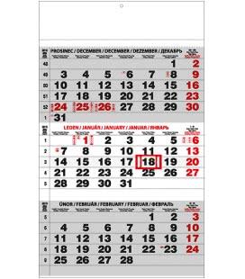 Nástěnný kalendář Tříměsíční - A3 (s mezinárodními svátky) - černý 2019