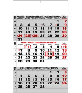 Wall calendar Tříměsíční - A3 (s mezinárodními svátky) - černý 2019