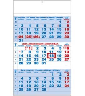 Nástěnný kalendář Tříměsíční - A3 (s mezinárodními svátky) - modrý 2019