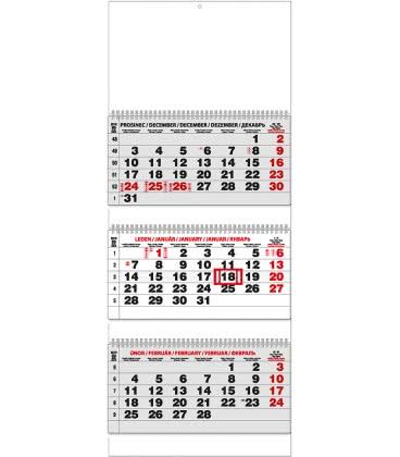 Nástěnný kalendář Tříměsíční - skládaný (s mezinárodními svátky) 2019