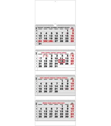 Wall calendar Čtyřměsíční - skládaný (s mezinárodními svátky) 2019