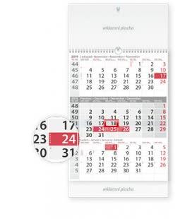 Nástěnný kalendář Tříměsíční šedý s laší 2019