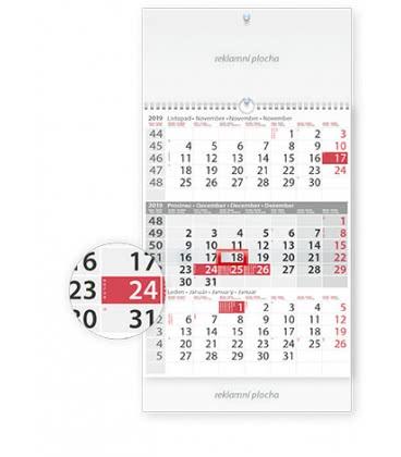 Wall calendar Tříměsíční šedý s laší 2019