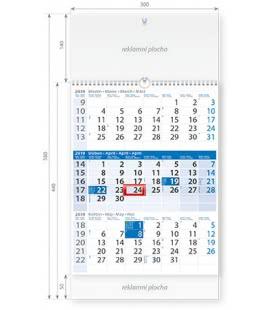 Nástěnný kalendář Tříměsíční modrý s laší 2019