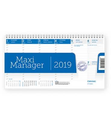Stolní kalendář Maximanager modrý 2019