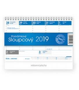 Table calendar Poznámkový sloupcový 2019