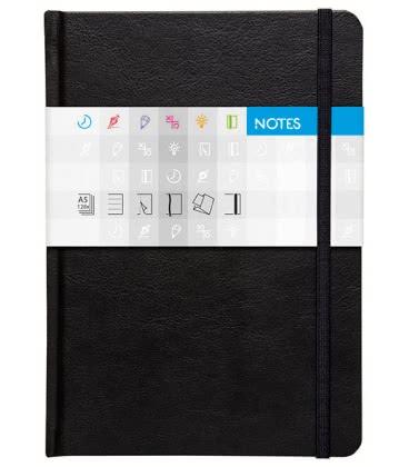 Notepad A5 Saturn lined černý 2019